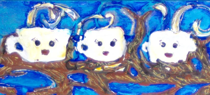 3 coffee cups on tree